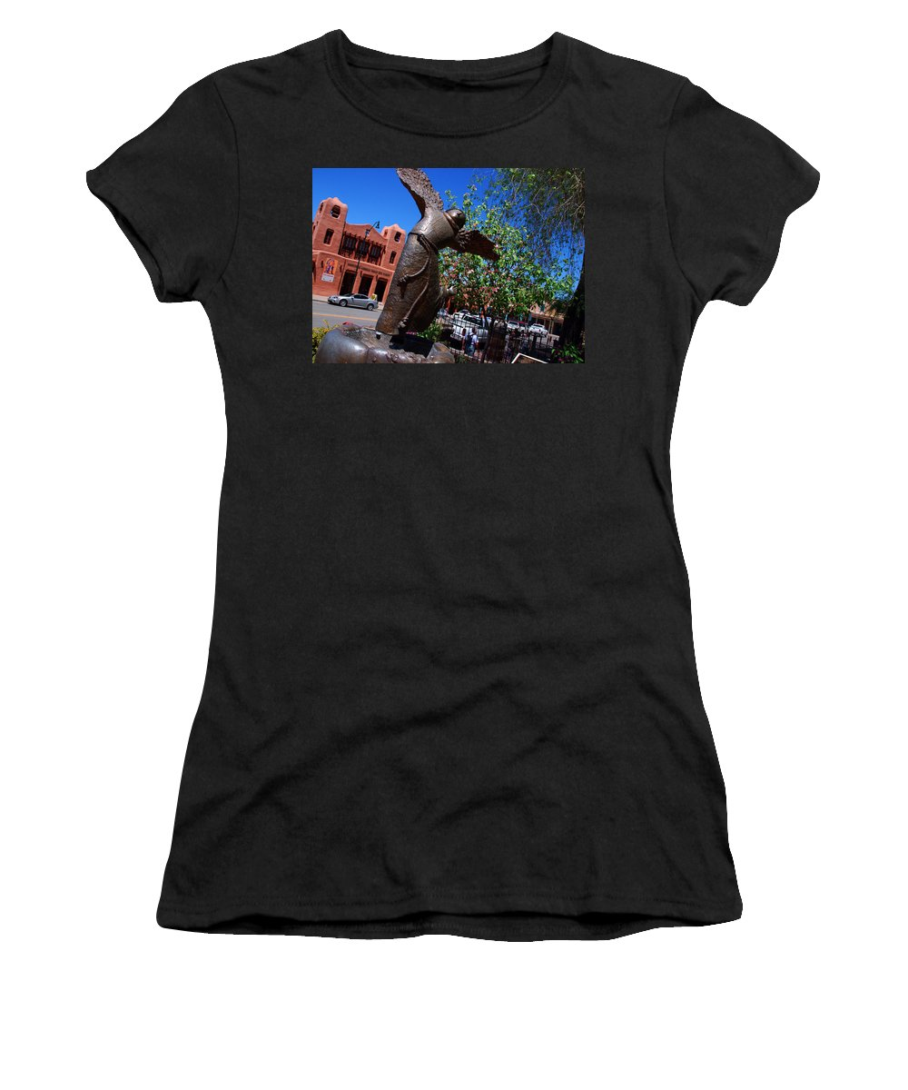 Sculpture Of San Franciskus Women's T-Shirt (Athletic Fit) featuring the photograph The Happy San Francis by Susanne Van Hulst