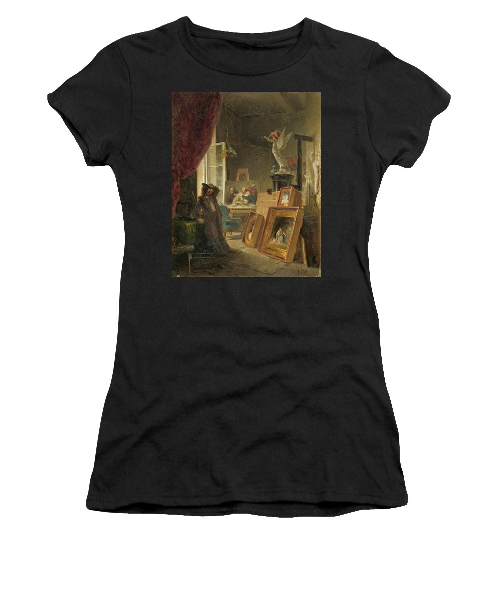 Carl Spitzweg Women's T-Shirt (Athletic Fit) featuring the painting The History Painter by Carl Spitzweg