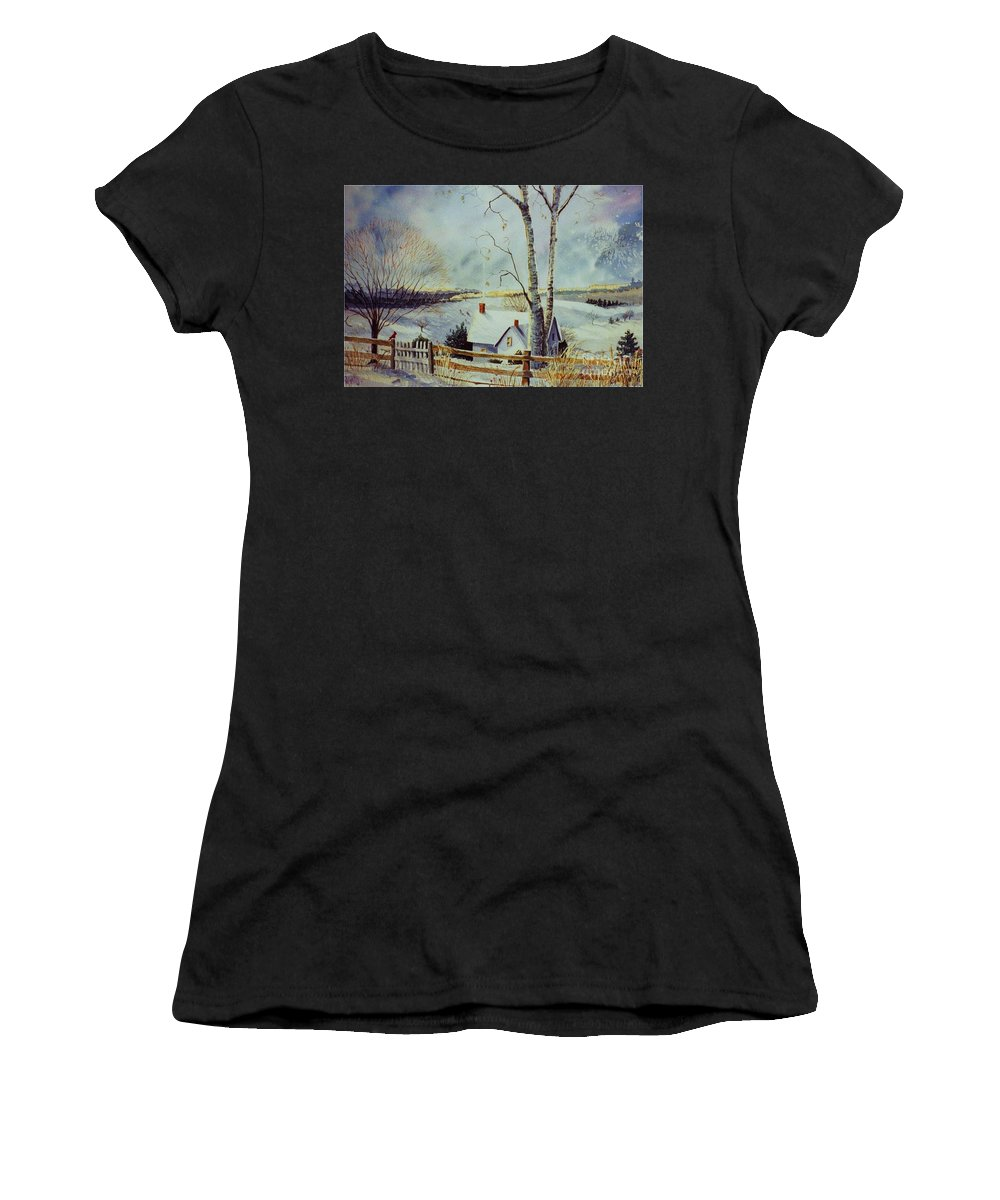 Winter Scene Women's T-Shirt (Athletic Fit) featuring the painting The Homestead by Marilyn Smith
