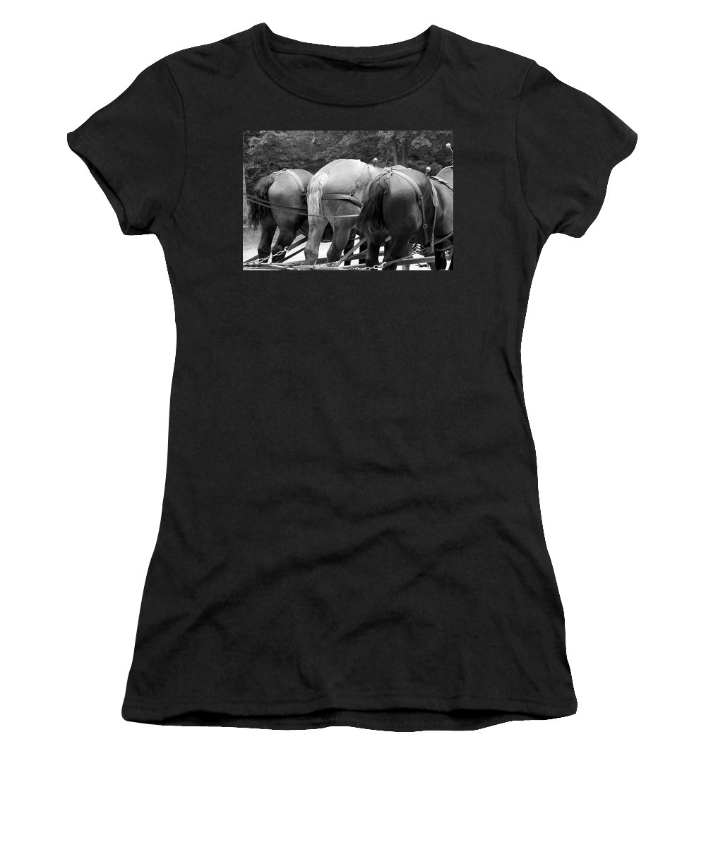 Mackinac Women's T-Shirt (Athletic Fit) featuring the photograph The Horses Of Mackinac Island Michigan 03 Bw by Thomas Woolworth