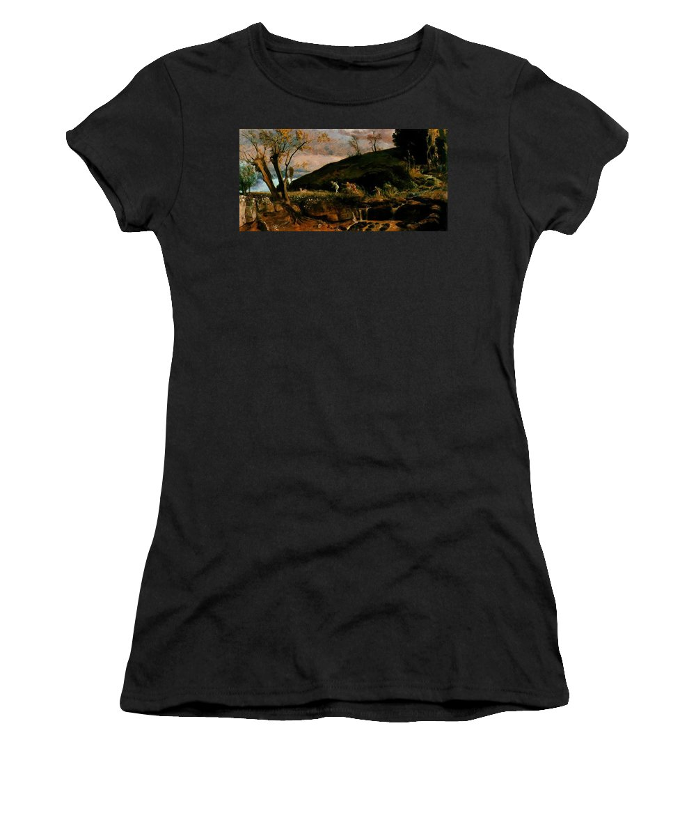 The Women's T-Shirt (Athletic Fit) featuring the painting The Hunt Of Diana 1896 by Bocklin Arnold