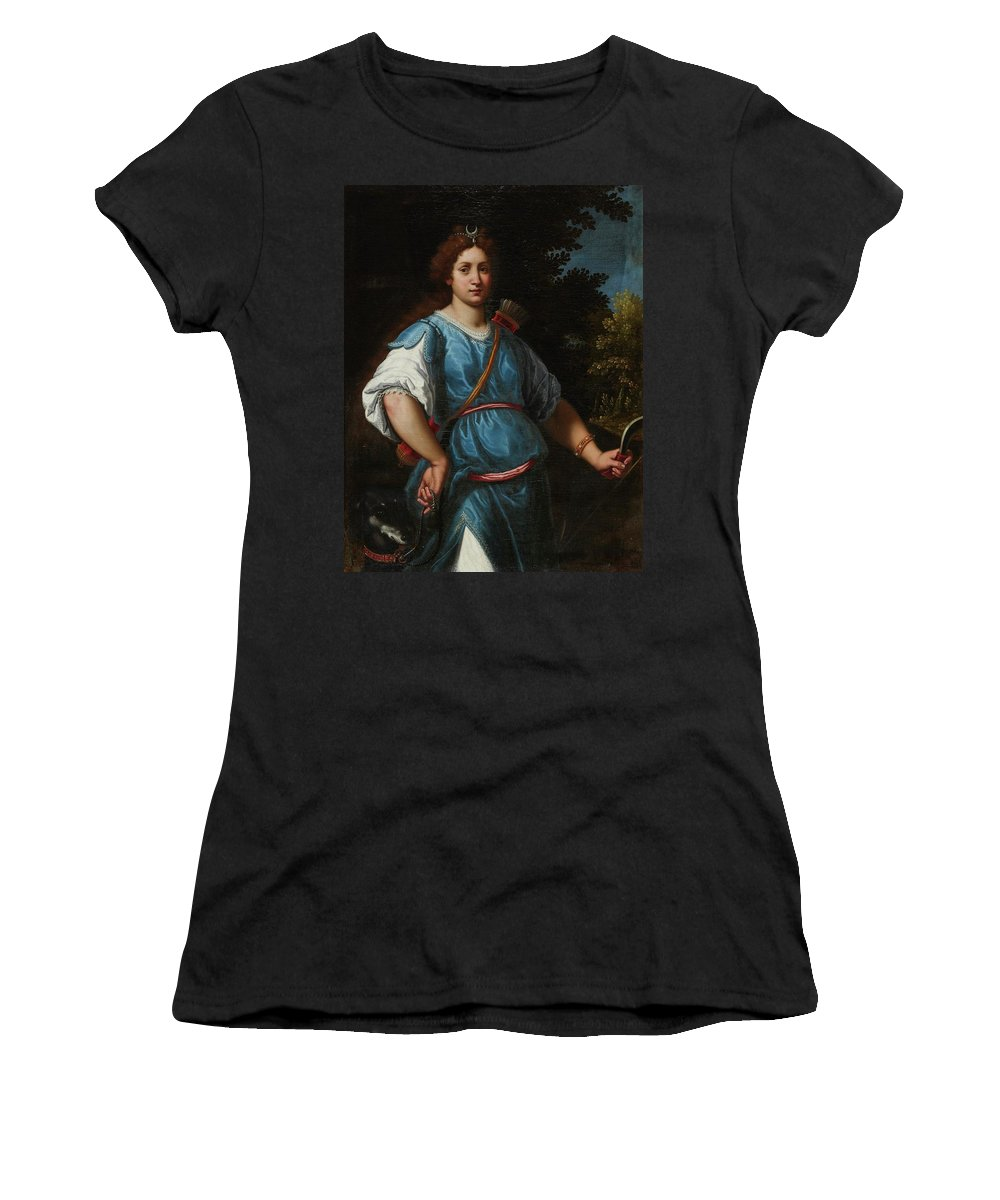 Matteo Rosselli Florence 1578 - 1650 Diana The Huntress Women's T-Shirt (Athletic Fit) featuring the painting The Huntress by Matteo Rosselli