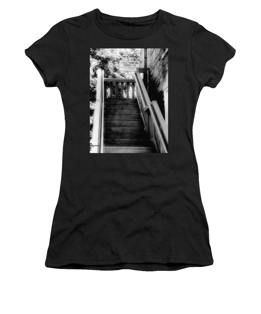 Black And White Women's T-Shirt featuring the photograph The Immigrant Traders by RC DeWinter