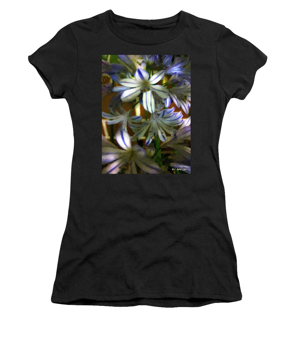 Floral Women's T-Shirt (Athletic Fit) featuring the painting The Intransigent Beauty Of Blue by RC DeWinter