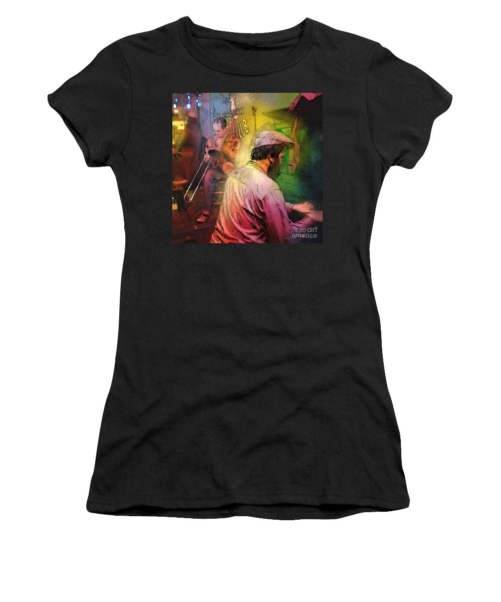 Jazz Women's T-Shirt (Athletic Fit) featuring the painting The Jazz Vipers In New Orleans 01 by Miki De Goodaboom