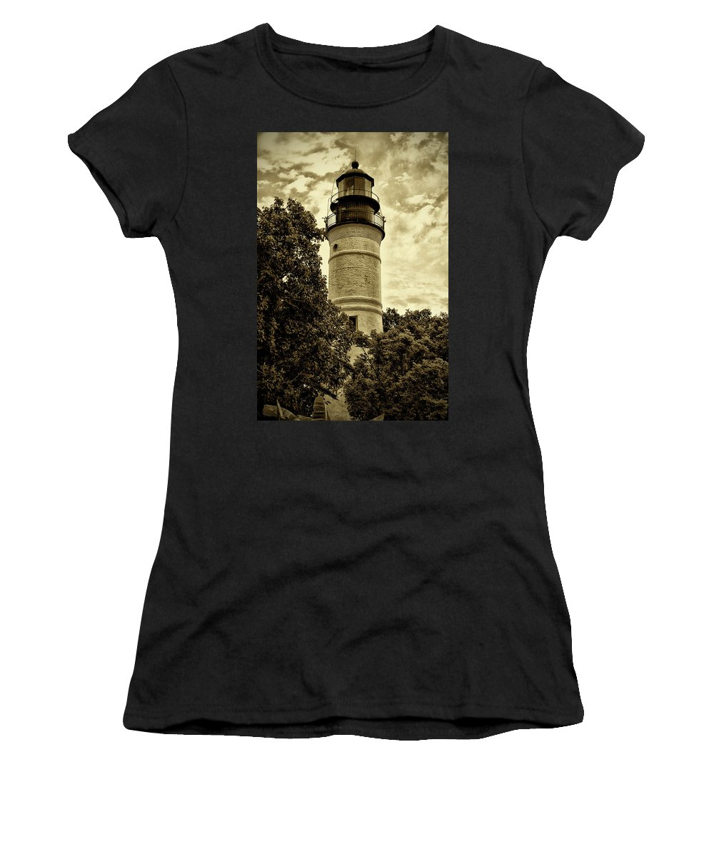 Key West Women's T-Shirt (Athletic Fit) featuring the photograph The Key West Lighthouse In Sepia by Bill Cannon