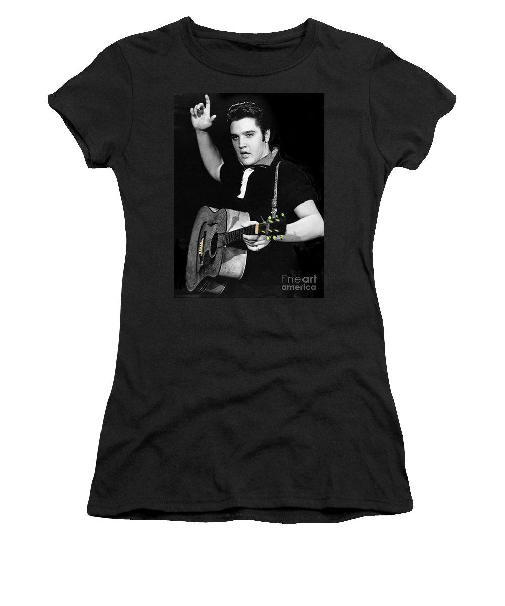 Elvis Women's T-Shirt featuring the photograph The King Rocks On Xxi by Al Bourassa