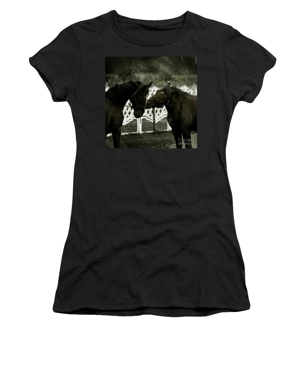 Kiss Women's T-Shirt (Athletic Fit) featuring the photograph The Kiss by Angel Tarantella