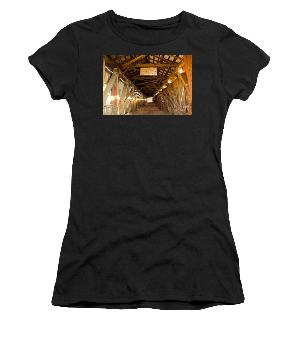 Covered Bridge Women's T-Shirt (Athletic Fit) featuring the photograph The Kissing Bridge by Gerri Ricci
