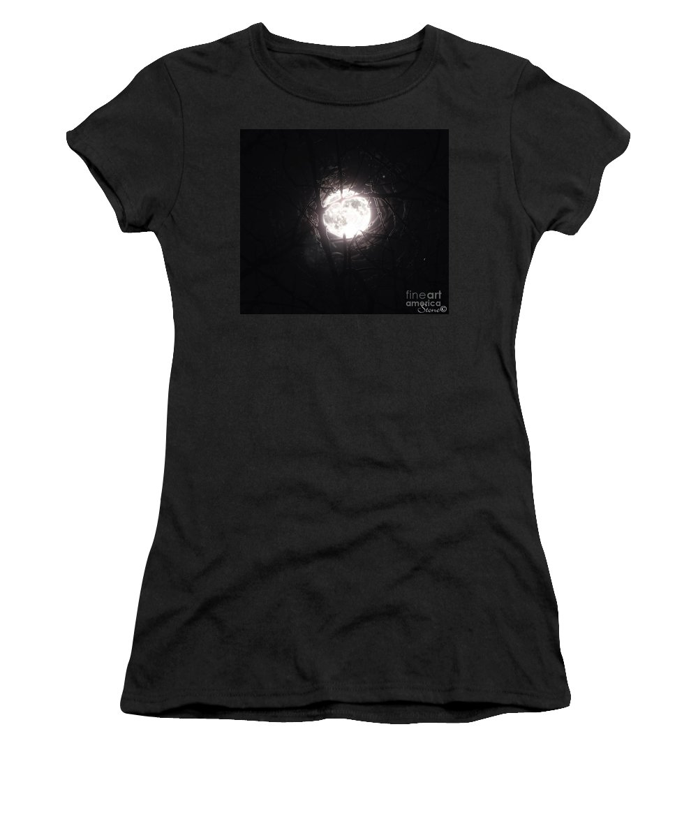 Night Women's T-Shirt (Athletic Fit) featuring the photograph The Last Nights Moon by September Stone