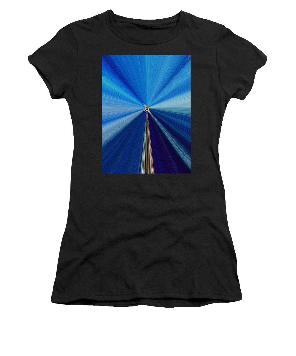 Abstract Women's T-Shirt (Athletic Fit) featuring the digital art The Light Fantastic Speedway by Tim Allen