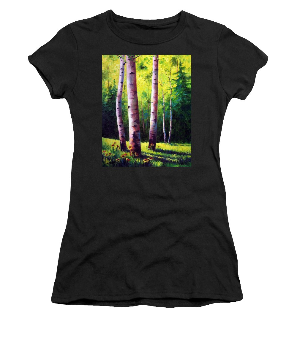Aspen Women's T-Shirt (Athletic Fit) featuring the painting The Light Of Spring by David G Paul