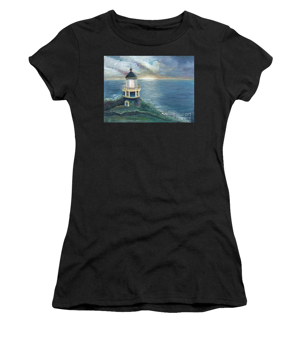 Lighthouse Women's T-Shirt (Athletic Fit) featuring the painting The Lighthouse by Nadine Rippelmeyer
