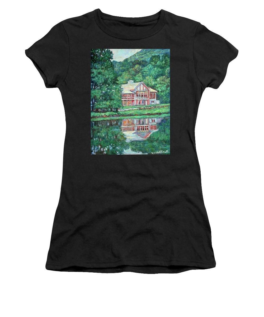 Lodge Paintings Women's T-Shirt (Athletic Fit) featuring the painting The Lodge At Peaks Of Otter by Kendall Kessler