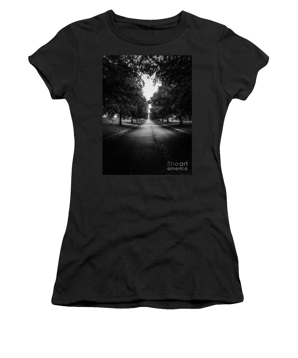 Trees Women's T-Shirt (Athletic Fit) featuring the photograph The Lone Walk by Olga Burt