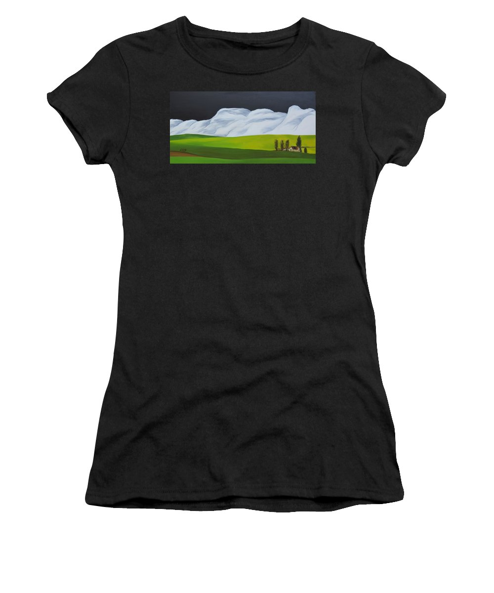 Painting Abstract Nature Green Landscape Dark Trees Tree Women's T-Shirt featuring the painting The Lonely Farm by Elie Benbaruch