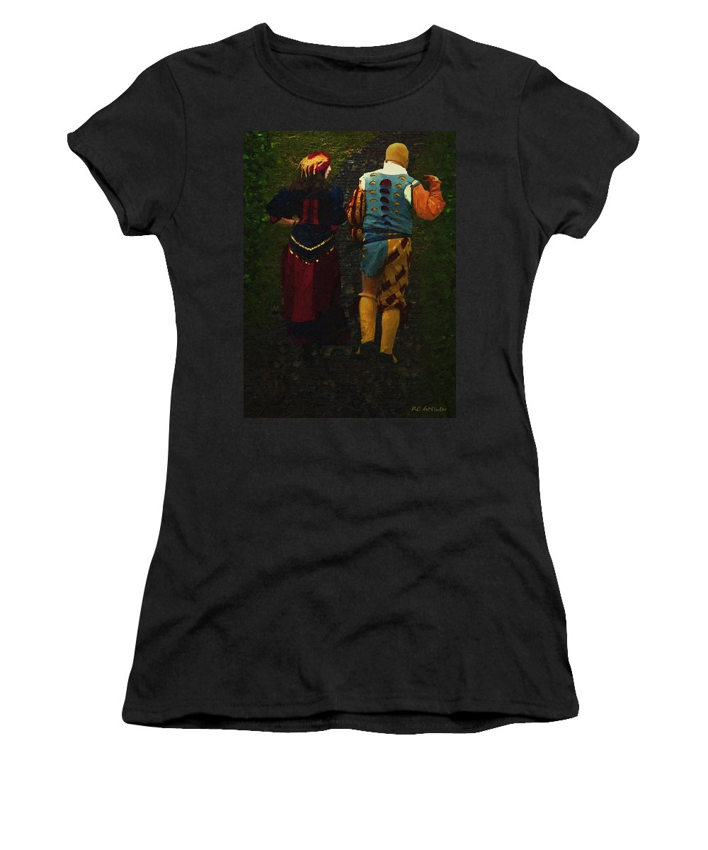 Cobblestones Women's T-Shirt featuring the painting The Long Walk Home by RC DeWinter