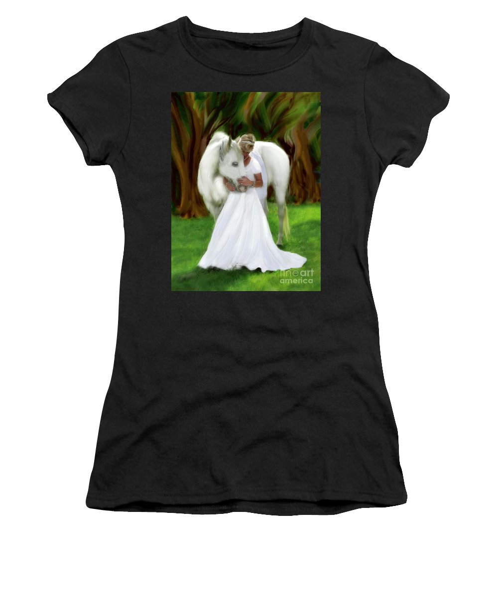 Bride Of Christ Art Women's T-Shirt (Athletic Fit) featuring the painting The Longing 2 by Constance Woods