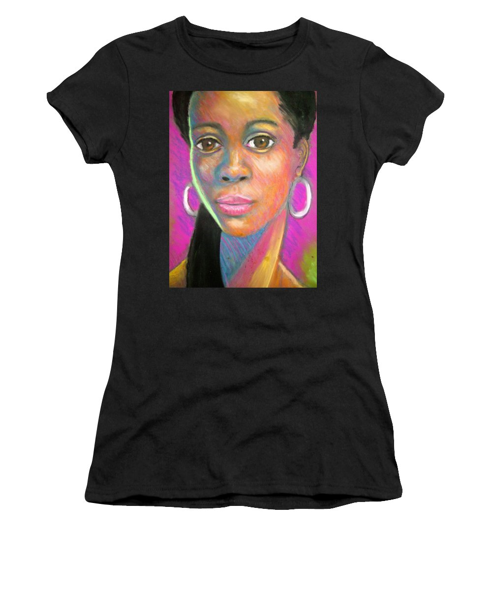 Portrait Women's T-Shirt (Athletic Fit) featuring the drawing The Look by Jan Gilmore