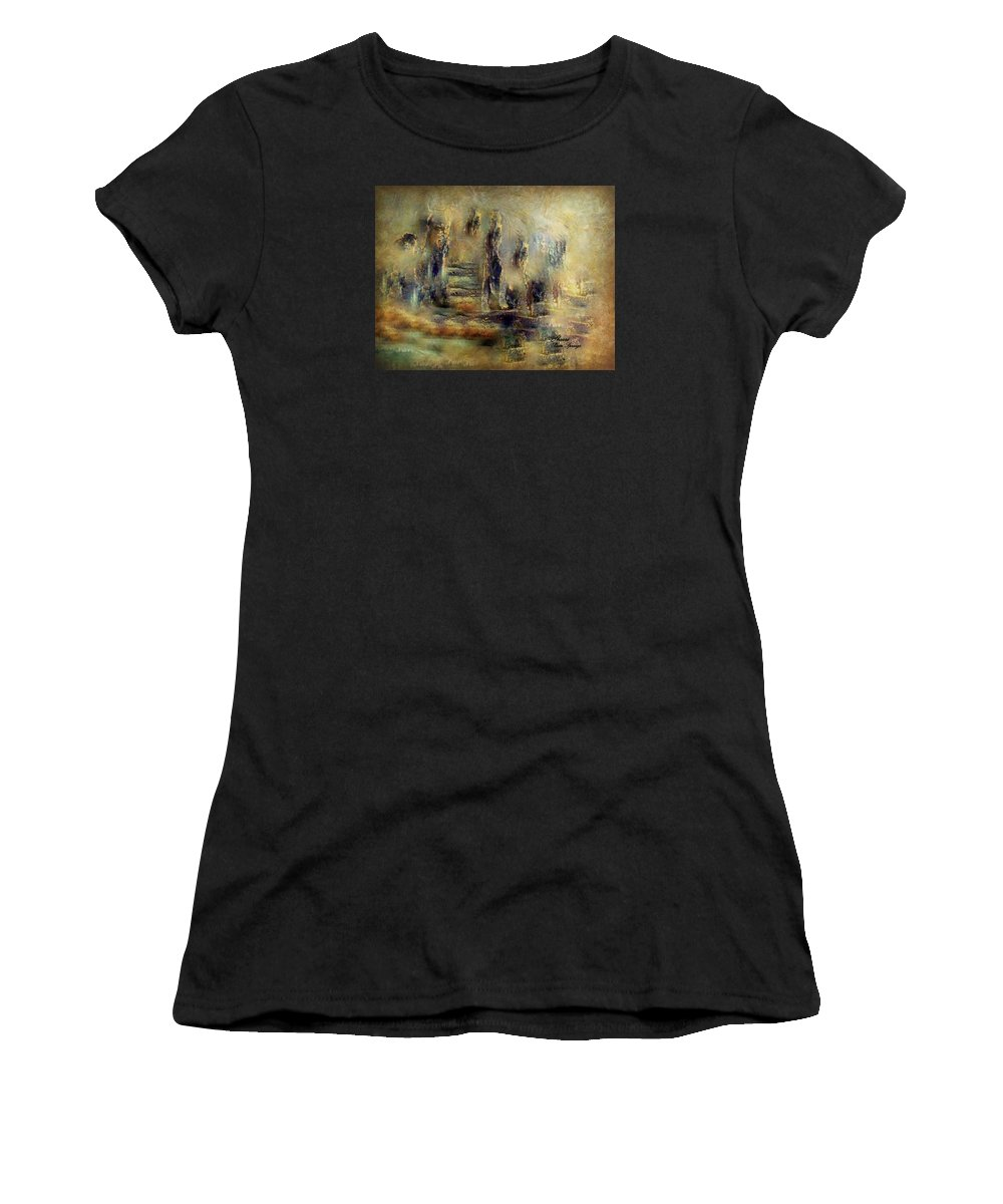 Lost Women's T-Shirt (Athletic Fit) featuring the painting The Lost City By Sherriofpalmsprings by Sherri's - Of Palm Springs