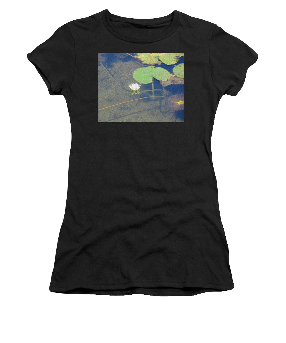 White Women's T-Shirt featuring the digital art The Lotus by Leah Mealing