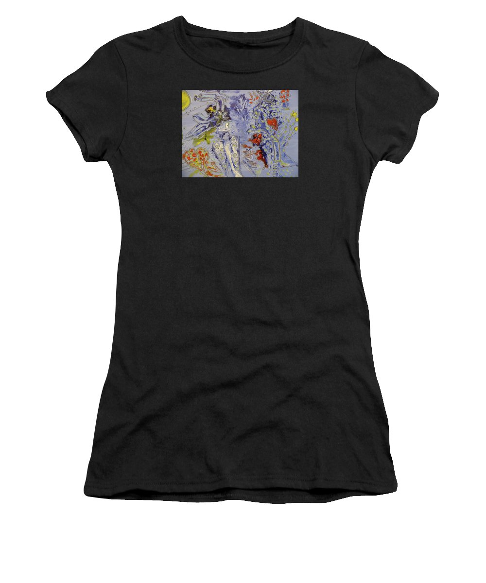 Une Jolie Mariée Women's T-Shirt featuring the painting The Lovers In Blue by Coco de la garrigue