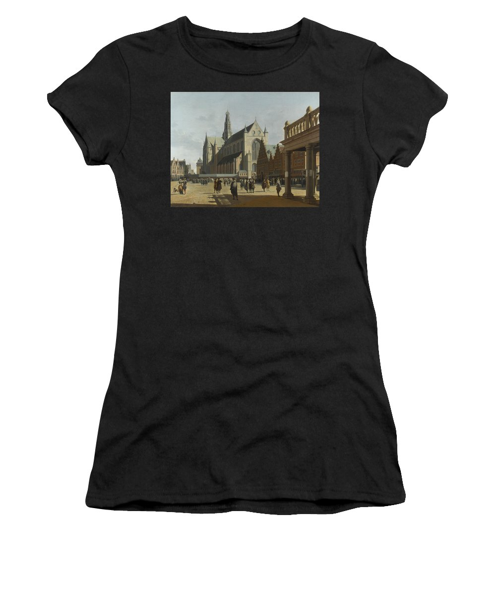 Gerrit Women's T-Shirt (Athletic Fit) featuring the digital art The Market Place And The Grote Kerk At Haarlem by PixBreak Art