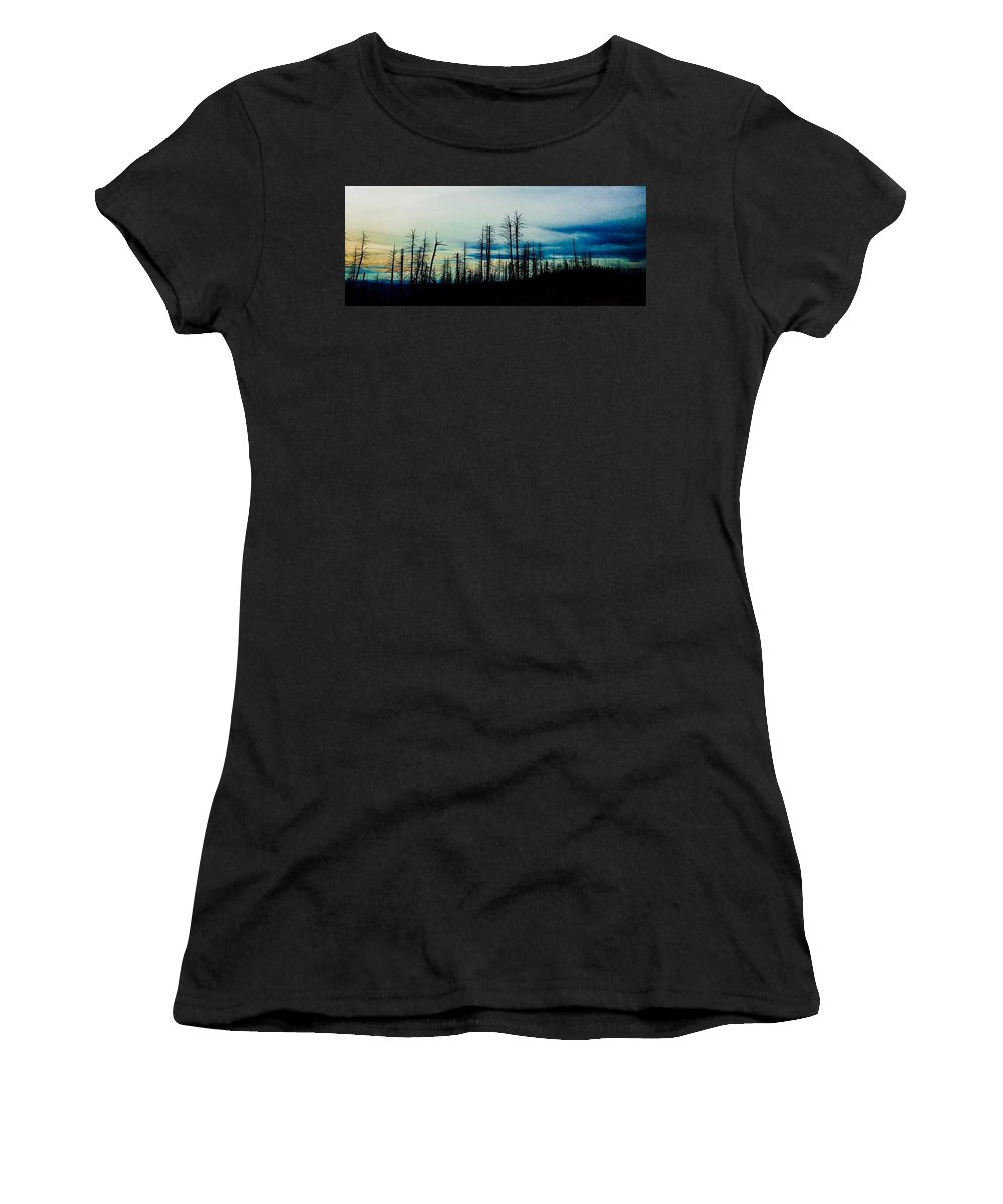 Pine Trees Women's T-Shirt (Athletic Fit) featuring the photograph The Morning Burn by Jennifer Lake