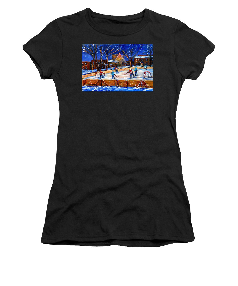 Montreal Women's T-Shirt (Athletic Fit) featuring the painting The Neighborhood Hockey Rink by Carole Spandau