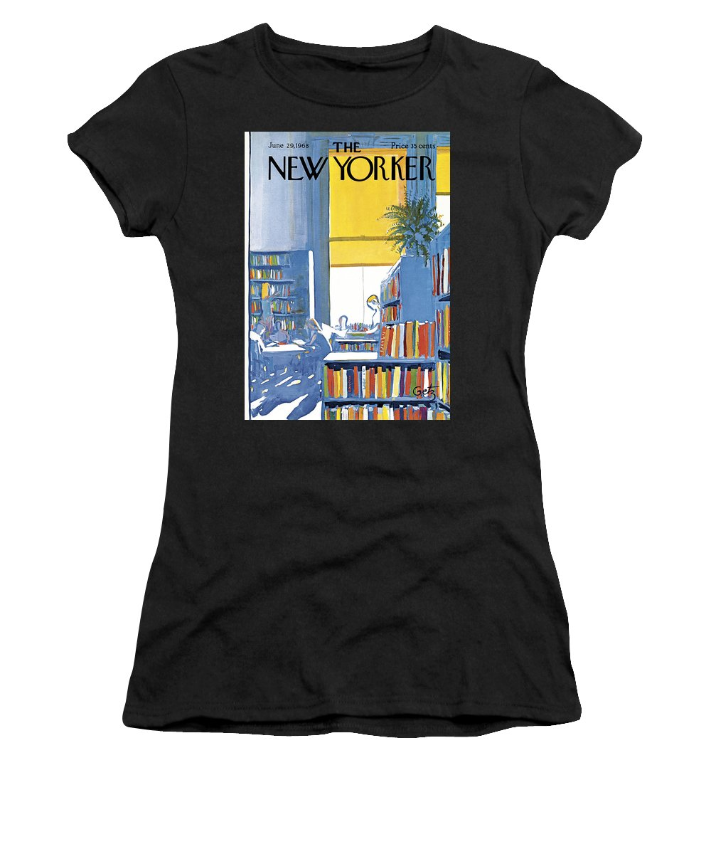 Books Women's T-Shirt featuring the painting New Yorker June 29th 1968 by Arthur Getz