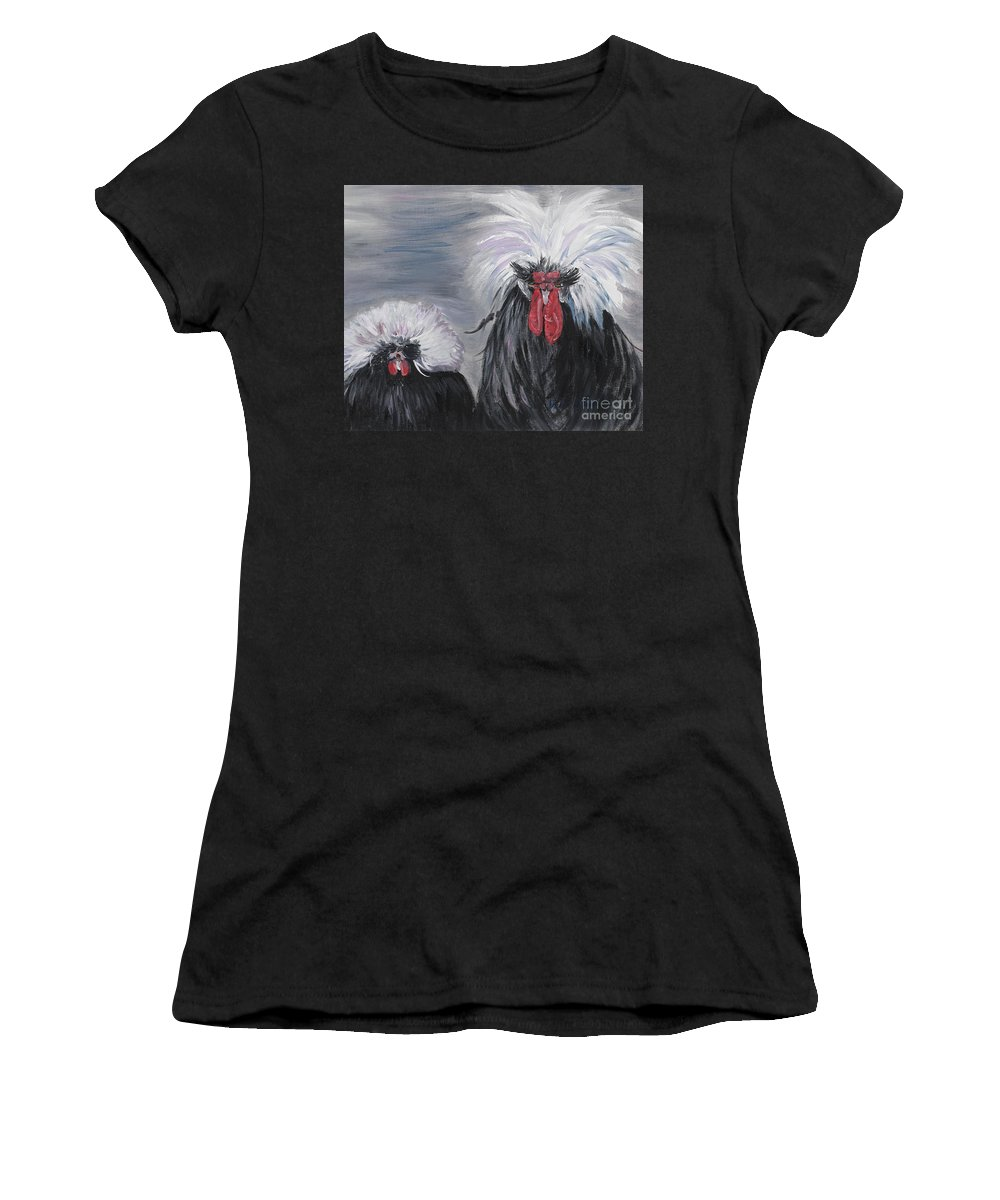 Odd Chickens With Wild Hair Women's T-Shirt featuring the painting The Odd Couple by Nadine Rippelmeyer