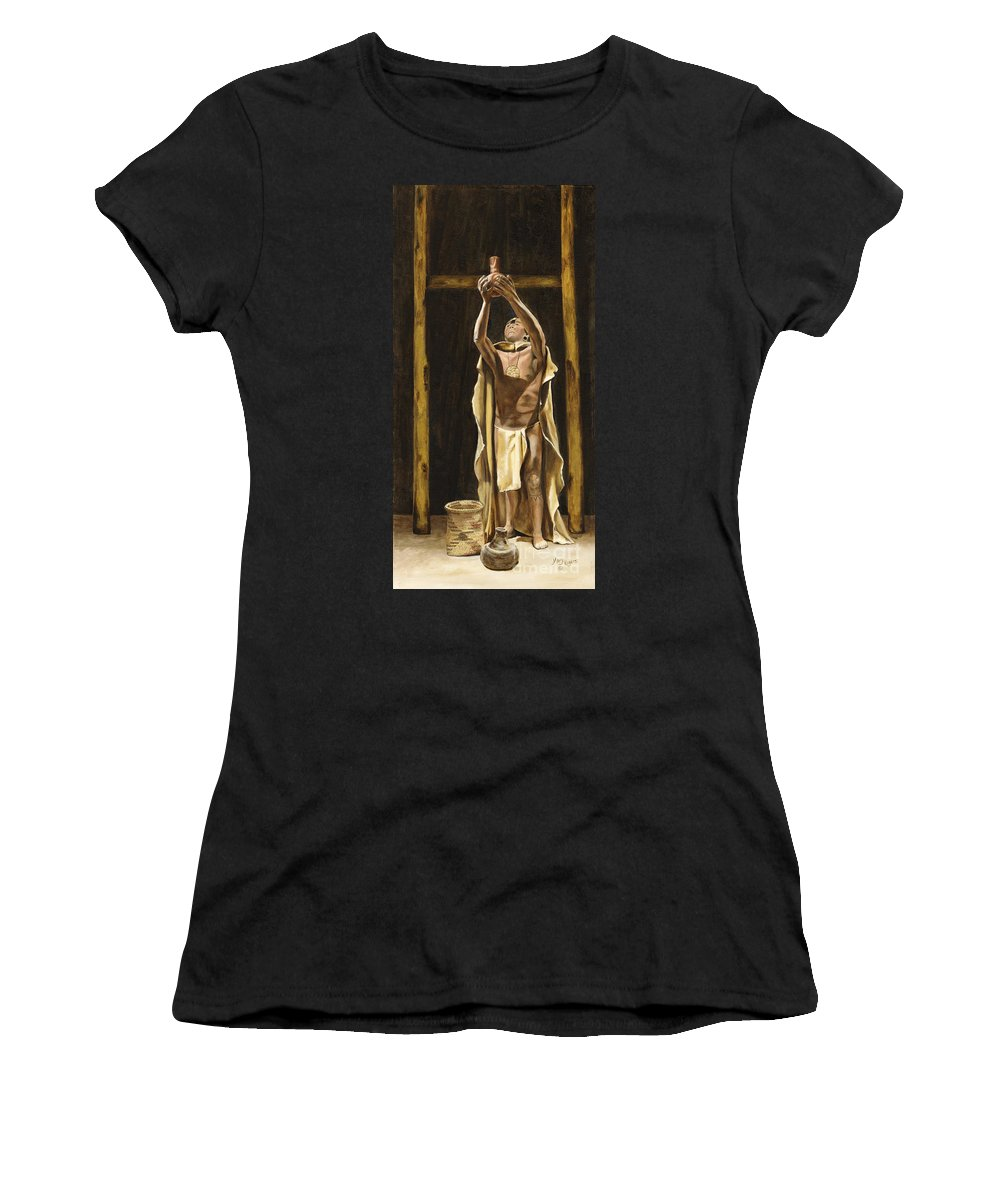 Sepia Women's T-Shirt featuring the painting The Offering by Mary Rogers