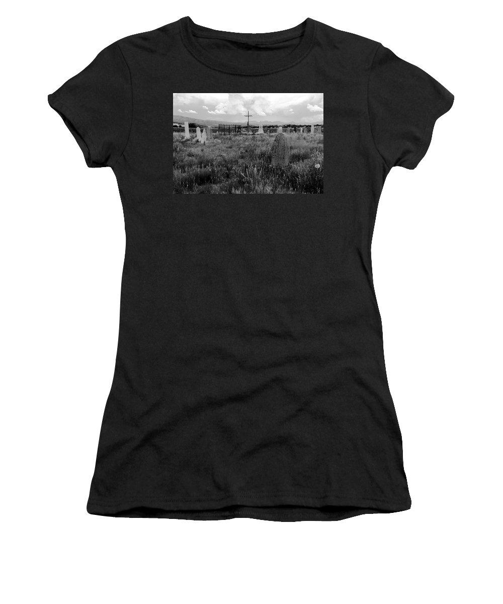 Galisteo New Mexico Women's T-Shirt (Athletic Fit) featuring the photograph The Old Cemetery At Galisteo by David Lee Thompson