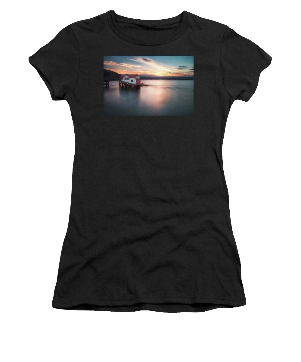Old Lifeboat Station Women's T-Shirt featuring the photograph The Old Lifeboat Station At Mumbles by Leighton Collins