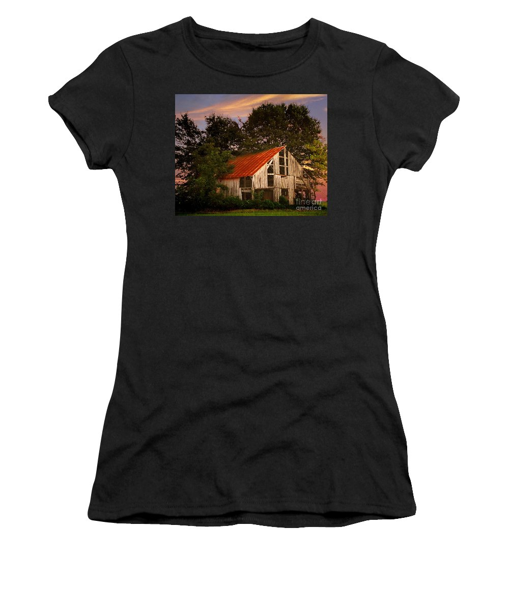 Barn Women's T-Shirt (Athletic Fit) featuring the photograph The Old Lowdermilk Barn - Red Roof Barn Rustic Country Rural Antique by Jon Holiday