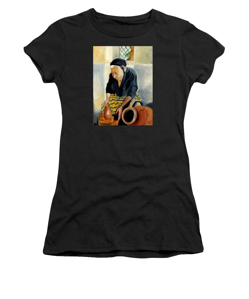 Old People Women's T-Shirt (Athletic Fit) featuring the painting The Old Potter by Jane Simpson
