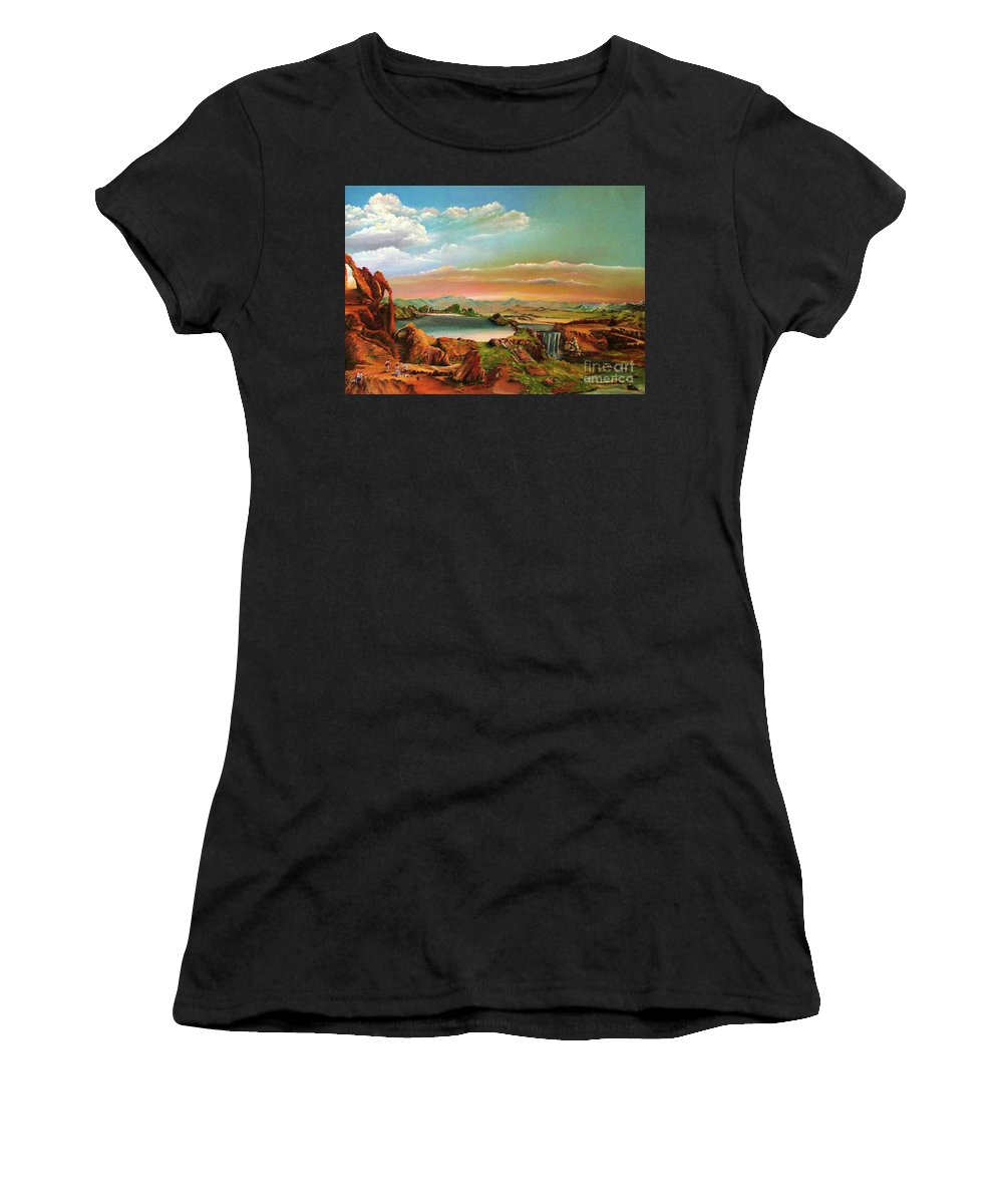 Landscape Women's T-Shirt (Athletic Fit) featuring the painting The Oppression by Ilona Van Hoek