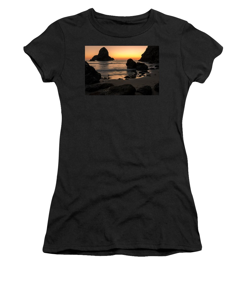 Whaleshead Women's T-Shirt (Athletic Fit) featuring the photograph The Orange Glow At Whaleshead by John Daly