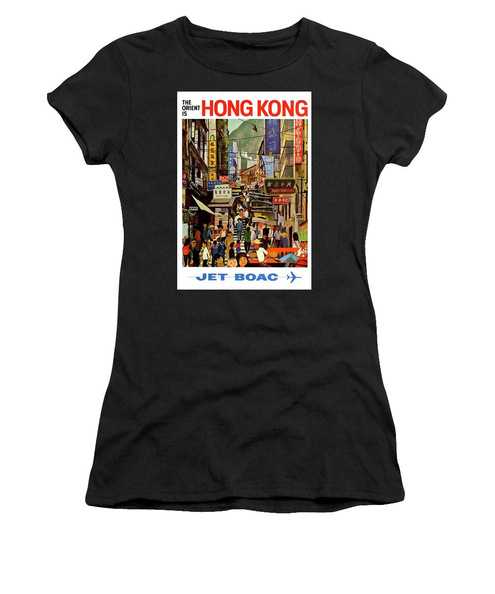 Hong Kong Women's T-Shirt (Athletic Fit) featuring the photograph The Orient Is Hong Kong - B O A C C. 1965 by Daniel Hagerman