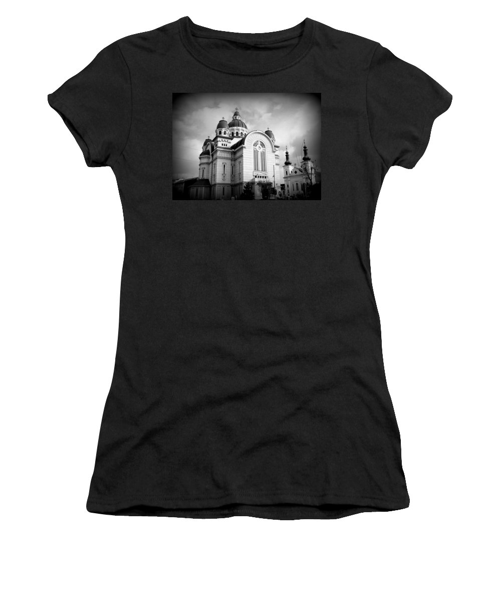 Orthodox Cathedral Women's T-Shirt (Athletic Fit) featuring the photograph The Orthodox Cathedral And The Saint John The Baptist Church by Erika H