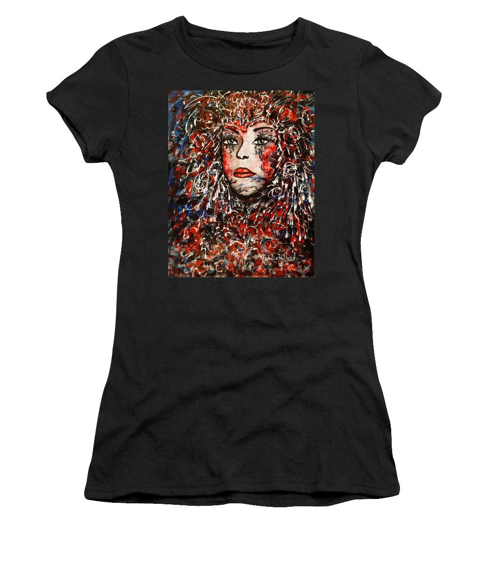 Expressionism Women's T-Shirt (Athletic Fit) featuring the painting The Painted Lady by Natalie Holland