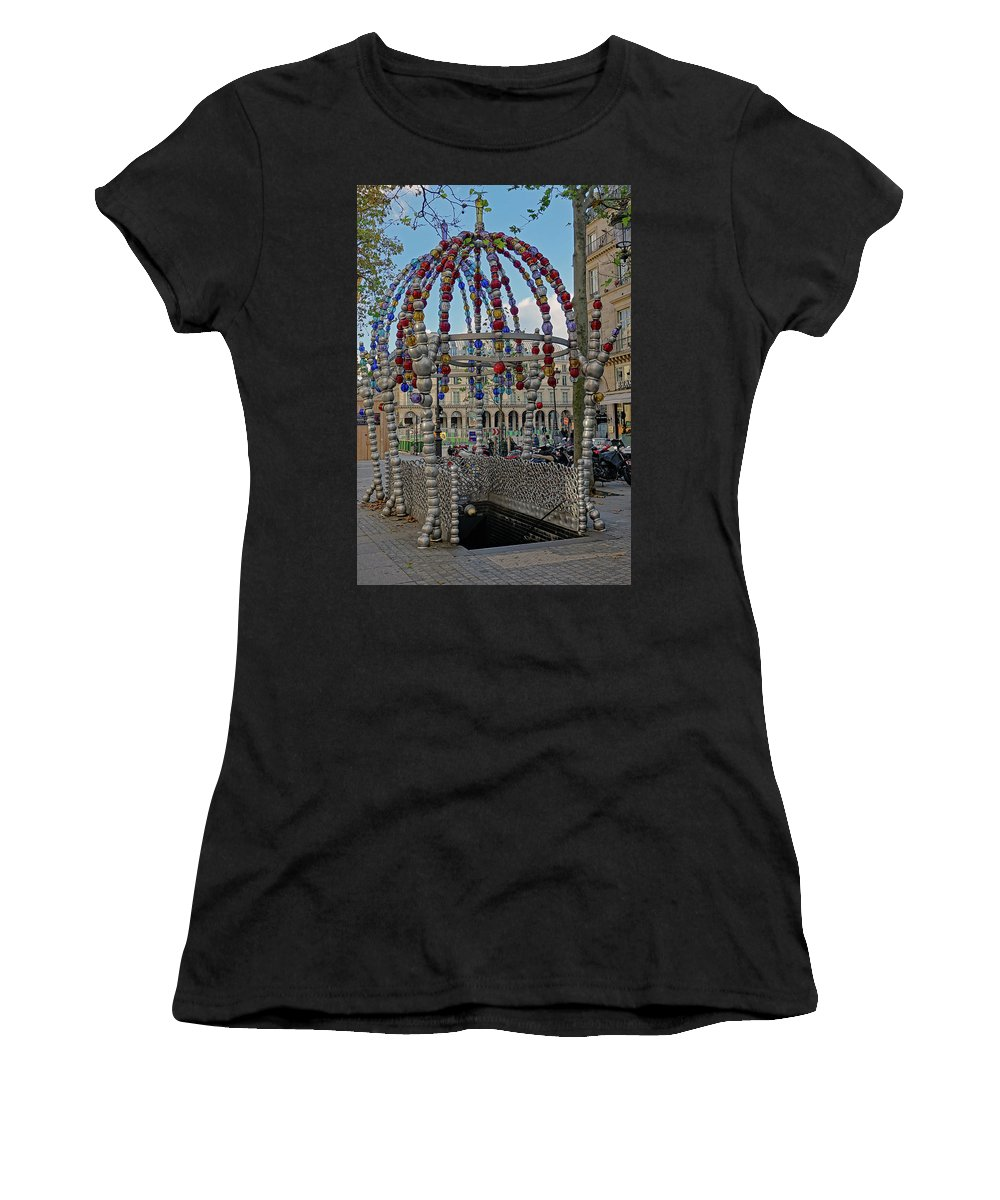 Paris Women's T-Shirt (Athletic Fit) featuring the photograph The Palais-royal Metro Station In Paris, France by Richard Rosenshein