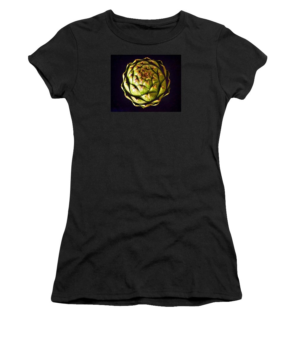 Artichoke Women's T-Shirt featuring the photograph The Patterns Of The Artichoke by Sandi OReilly