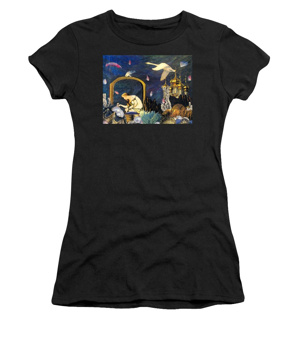 Surealism Women's T-Shirt featuring the mixed media The Pearl Of Great Price by Gail Kirtz