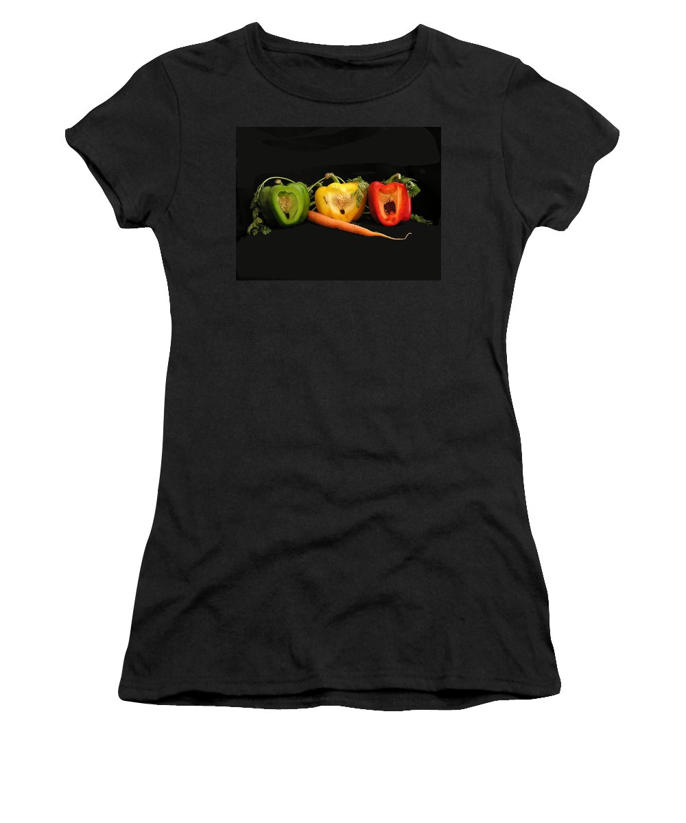 Pepper Women's T-Shirt (Athletic Fit) featuring the photograph The Pepper Trio by Carol Milisen