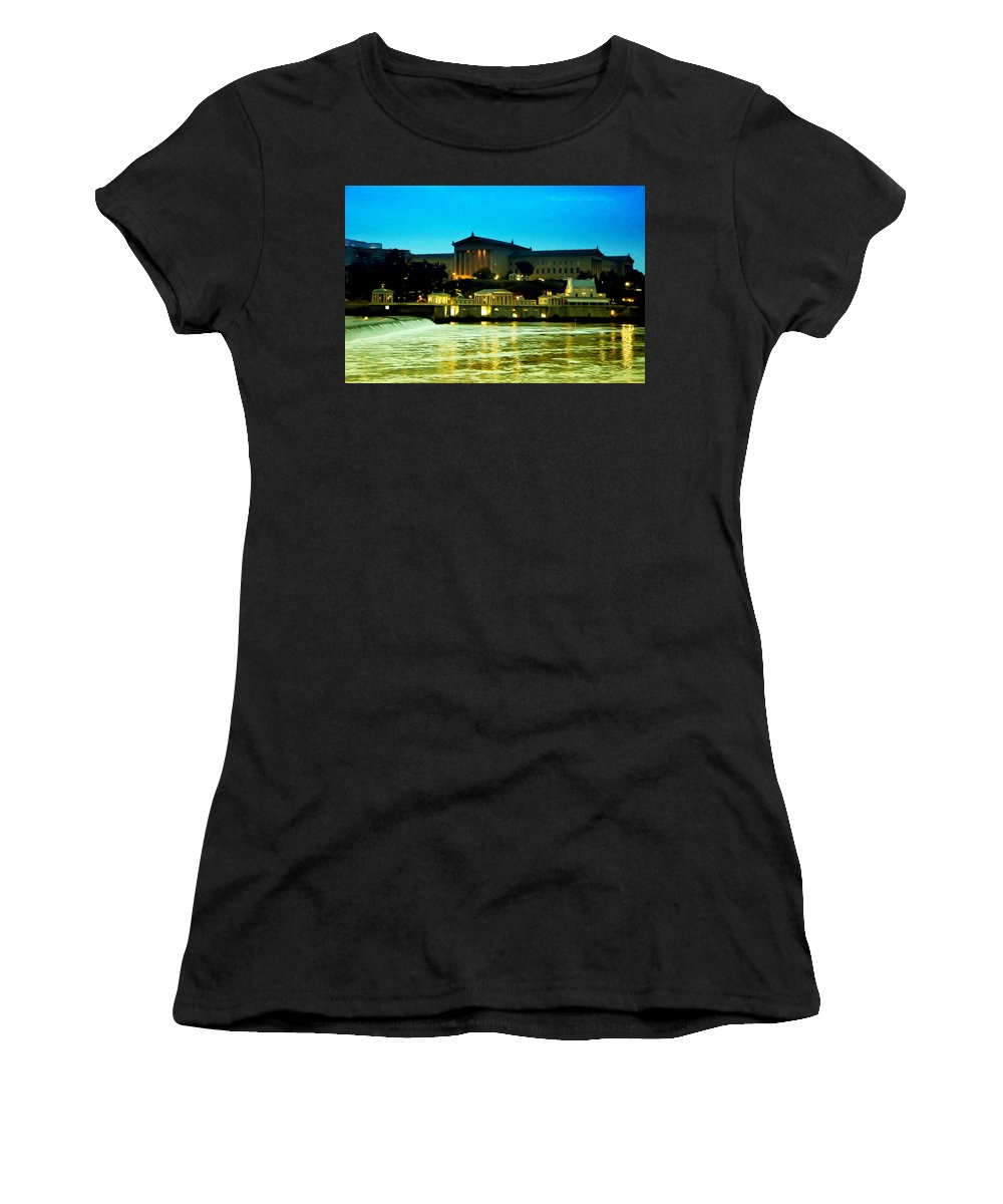 The Philadelphia Art Museum And Waterworks At Night Women's T-Shirt (Athletic Fit) featuring the photograph The Philadelphia Art Museum And Waterworks At Night by Bill Cannon