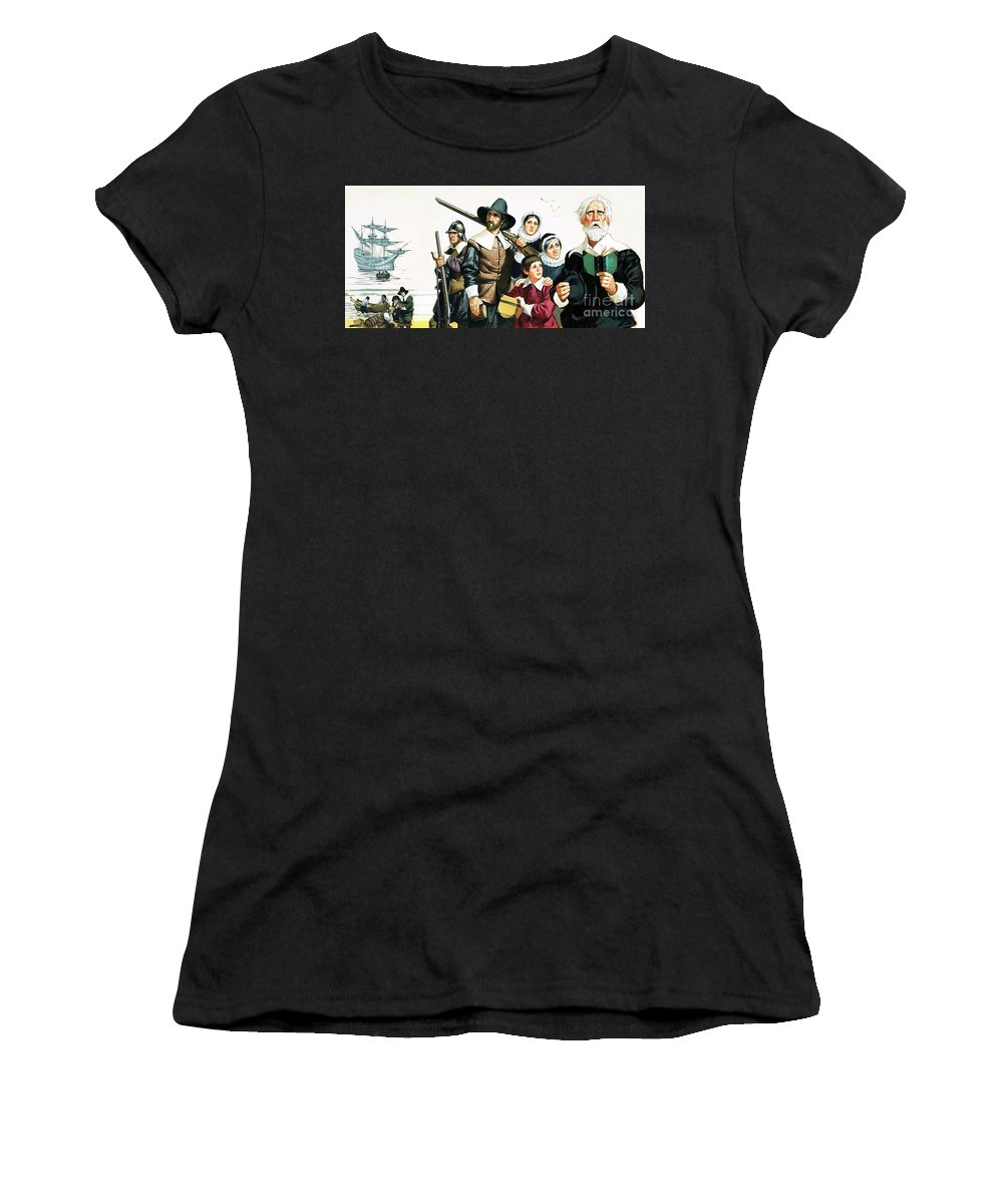 America Women's T-Shirt (Athletic Fit) featuring the painting The Pilgrim Fathers Arrive In America by Angus McBride