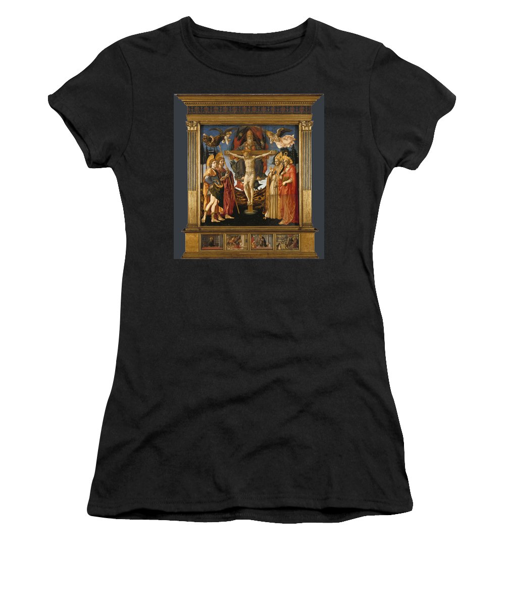 Francesco Women's T-Shirt (Athletic Fit) featuring the digital art The Pistoia Santa Trinita Altarpiece by PixBreak Art