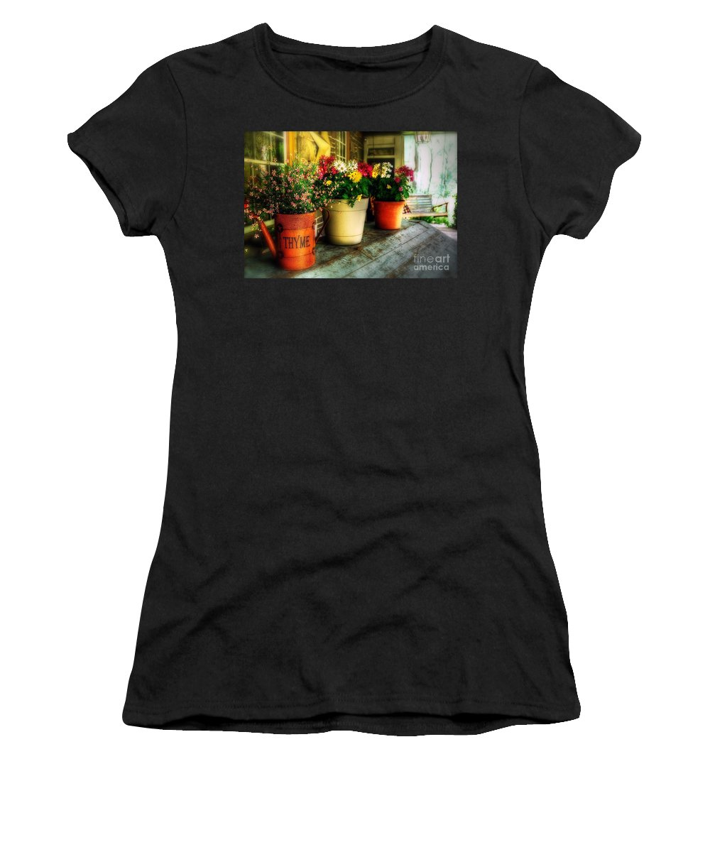 Porch Women's T-Shirt (Athletic Fit) featuring the photograph The Porch Swing by Lois Bryan