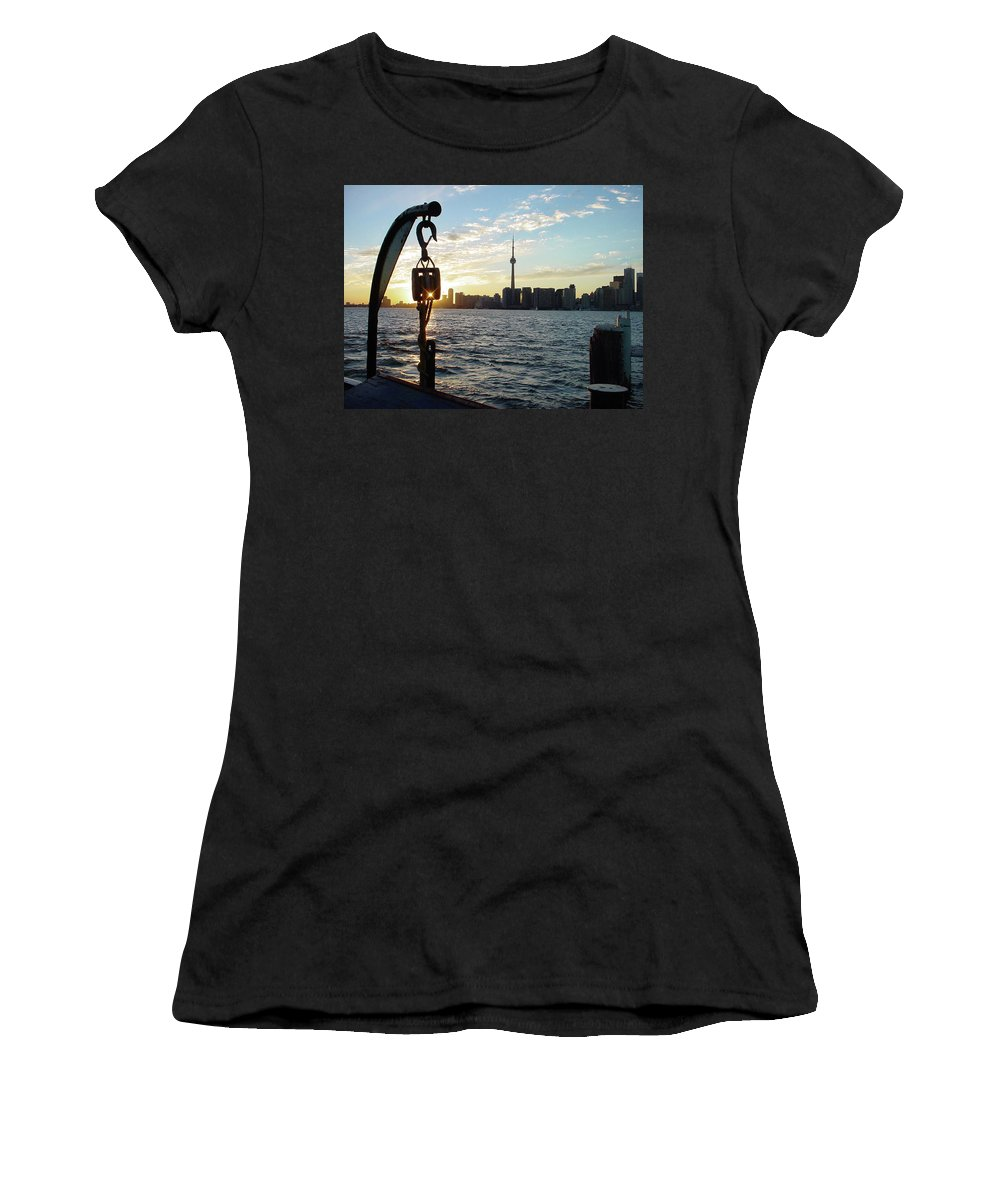 Toronto Ontario Island Dock Ferry Pulley Harbor Harbour Sunset Cn Tower Waterfront Lake Women's T-Shirt featuring the photograph The Precision Of Sunset In The Harbour by The Sangsters